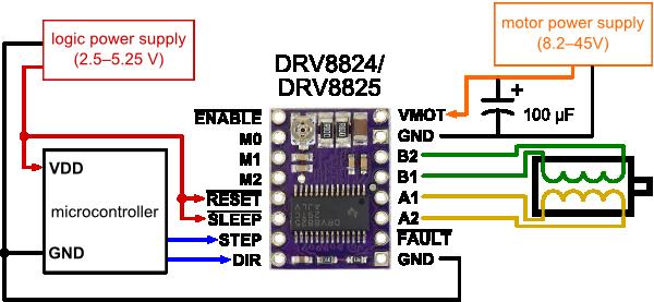 drv8825 step motor sürücü kart - pl2133 bağlantı şeması